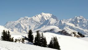 Mont Blanc, Savoy, France. The famous Mont Blanc Massif, from french side, in Savoy Royalty Free Stock Photo