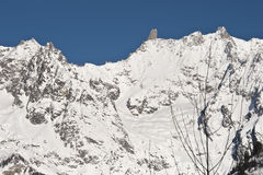 The Mont Blanc seen from Courmayeur, Aosta Valley, Italy Royalty Free Stock Photography