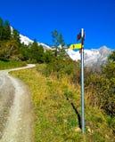 Mont Blanc signent le sens Image stock