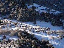 Mont Blanc ski resort. Mont Blanc winter  ski resort, aerial view Stock Photography