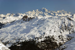 Mont Blanc and ski slopes. Ski slopes in front of the Mont Blanc Stock Photos