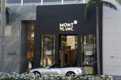 Mont Blanc Store. One of the outlet store of Mont Blanc carries the products like solid gold pens and other accessories Stock Images
