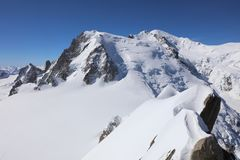 Mont Blanc Summit from Aiguille du Midi Royalty Free Stock Images