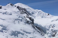 Mont Blanc Summit from Aiguille du Midi Royalty Free Stock Photography