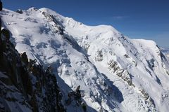 Mont Blanc Summit from Aiguille du Midi Stock Image