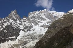 Mont Blanc Summit with clouds from Courmayeur Royalty Free Stock Photo