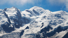 Mont Blanc summits. Summits of the Mont Blanc range: Mont Maudit, Mont Blanc and Gouter Stock Photography