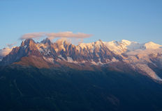 Mont Blanc at sunset Stock Photos