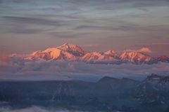 Mont Blanc Sunset. Mont Blanc view from La tournette during sunset with a sea of cloud at the bottom Stock Images