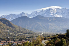Mont Blanc Swiss Alps and Village Stock Images