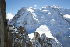 Mont-Blanc terrace overlooking Mont Blanc mountain at the mountain top station of the Aiguille du Midi Stock Photos