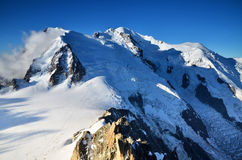 Mont Blanc, top of Europe, Alps mountains Royalty Free Stock Photos