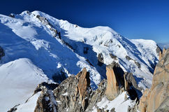 Mont Blanc, top of Europe, Alps mountains Royalty Free Stock Images