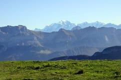 Mont-Blanc and Tournette mountains, savoy, france. Mont-Blanc and Tournette mountains landscape from semnoz near Annecy, savoy, france Stock Photo
