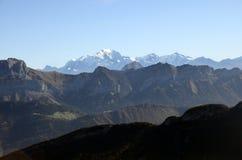 Mont-Blanc and Tournette mountains, savoy, france. Mont-Blanc and Tournette mountains landscape from semnoz near Annecy, savoy, france Stock Photos