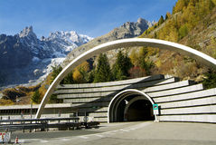 Mont Blanc Tunnel. The way in of the Tunnel of Monte Bianco in the Italy border Stock Photography