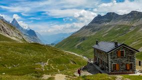 Mont blanc valley with a shelter stock images
