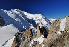 Mont Blanc viewed from the Aiguille du Midi, Alps Royalty Free Stock Photo
