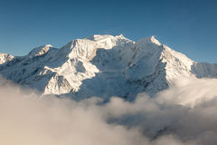 Mont Blanc in Winter. Aerial view of snow covered Mont Blanc in winter from the French side of the alps on a sunny day Royalty Free Stock Photography