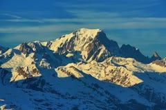 Mont Blanc, Winter landscape in the ski resort of La Plagne, France Royalty Free Stock Image