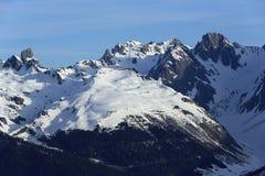 Mont Blanc, Winter landscape in the ski resort of La Plagne, France Stock Images