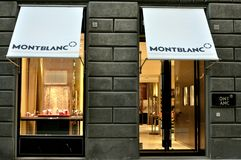 Mont Blanc writing instruments store in Italy. Montblanc has been known for generations as a maker of sophisticated, highquality writing instruments. In the past stock images