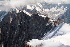 Mont Blank que camina panorama Fotos de archivo libres de regalías