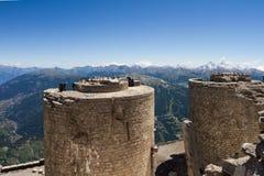 从Mont Chaberton的全景与被破坏的火炮 免版税图库摄影