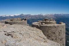 从Mont Chaberton的全景与被破坏的火炮 库存照片