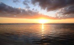 非洲,日落在Mont Choisy在毛里求斯 库存照片