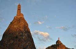 Mont d'Aiguilhe at Le Puy en Velay Stock Images