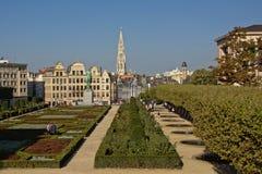 ` Mont des艺术艺术的`或小山停放与historicall房子和市政厅的尖顶,从后面,布鲁塞尔,比利时 免版税库存照片