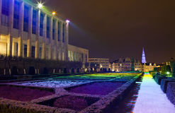 Mont des Arts in Brussels. View of Mont des Arts at night, Brussels.  The tower of Brussels City Hall can be seen in the distance Stock Image