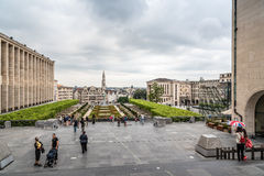 Mont des Arts Garden in Brussels and cityscape of the city centr Royalty Free Stock Photography