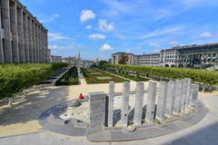 Mont des Arts Garden with a view of Brussels city. BRUSSELS - SEPTEMBER 15: Mont des Arts Garden with a view of Brussels city, taken on September 15, 2014 in Stock Photography
