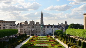 Mont des Arts (Mount of the arts) gardens in Brussels stock video footage