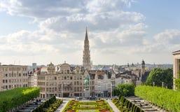 Mont des Arts (Onderstel van de kunsten) tuinen in Brussel Stock Fotografie