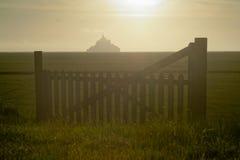 Mont HeiligMichel Ansicht von der Wiese Stockfoto
