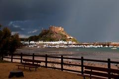 Mont Orgueil Castle after the rain Stock Photo