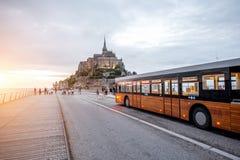 Mont-Saint-Michael with shuttle bus Stock Photos
