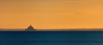 Sunrise over Mont Saint Michel Stock Images