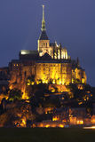 Mont Saint Michel. Night picture of beautiful Abbey of Mont Saint Michel Royalty Free Stock Image