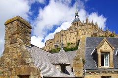 Mont Saint Michel. Landscape with Mont Saint Michel abbey. Normandy, France royalty free stock image