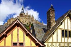 Mont Saint Michel. Landscape with Mont Saint Michel abbey. Normandy, France royalty free stock photos