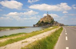 Mont Saint-Michel. Rocky tidal island in Normandy, France Stock Photos