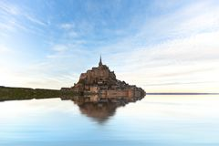 Mont Saint-Michel abbey, France. Mont Saint-Michel abbey, Brittany, France, flooded by the water Stock Image