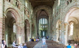 Mont Saint Michel Abbey i Frankrike Arkivfoto