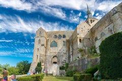 Mont Saint Michel Abbey i Frankrike Royaltyfria Foton