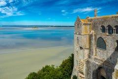 Mont Saint Michel Abbey i Frankrike Arkivbild