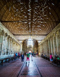Mont Saint Michel Abbey interior. People in the Interior of the Mont Saint Michel abbey. Normandy, France Royalty Free Stock Photos